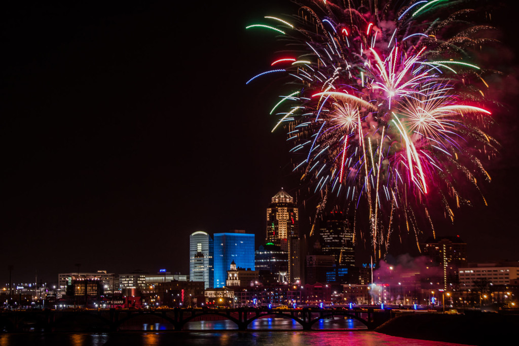 Fireworks over Des Moines, Iowa