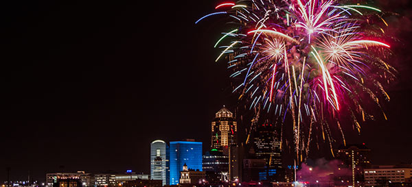 Fireworks over Des Moines, Iowa